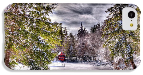 IPhone 5c Case featuring the photograph Red Boathouse After The Storm by David Patterson
