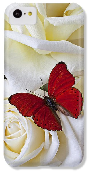 Red Butterfly On White Roses IPhone 5c Case