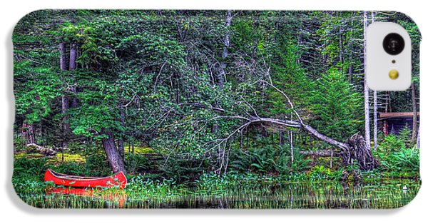 IPhone 5c Case featuring the photograph Red Canoe Among The Reeds by David Patterson
