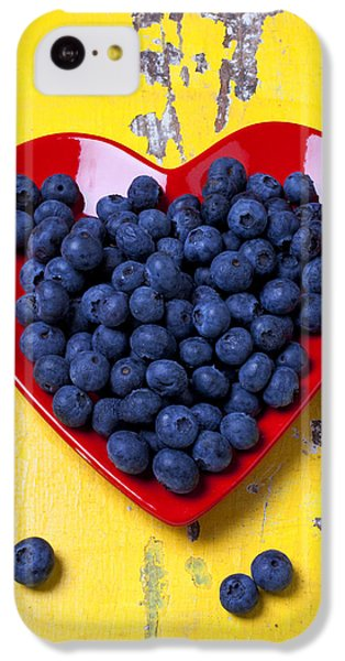 Orange iPhone 5c Case - Red Heart Plate With Blueberries by Garry Gay