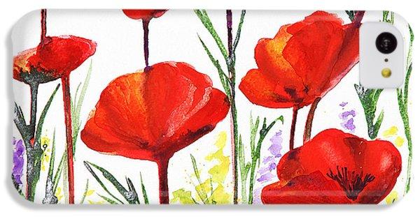 IPhone 5c Case featuring the painting Red Poppies Art By Irina Sztukowski by Irina Sztukowski