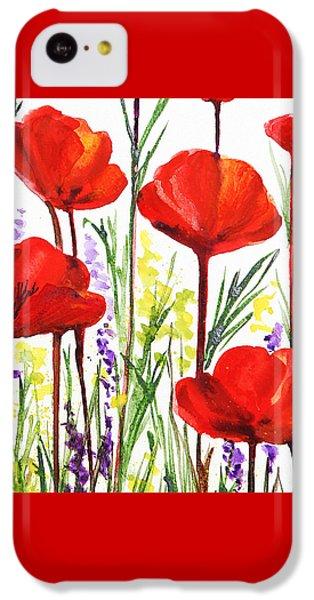 IPhone 5c Case featuring the painting Red Poppies Watercolor By Irina Sztukowski by Irina Sztukowski