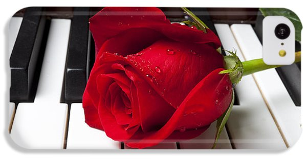 Sound iPhone 5c Case - Red Rose On Piano Keys by Garry Gay