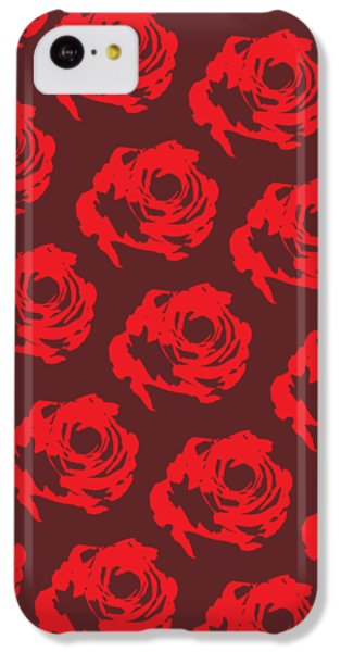 Red Rose Pattern IPhone 5c Case by Cortney Herron