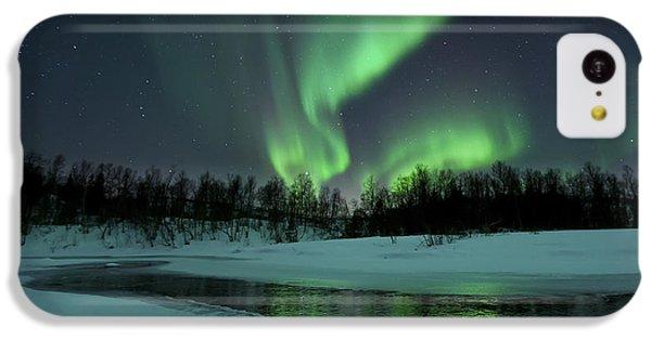 Landscapes iPhone 5c Case - Reflected Aurora Over A Frozen Laksa by Arild Heitmann
