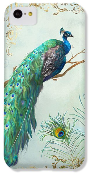 Regal Peacock 1 On Tree Branch W Feathers Gold Leaf IPhone 5c Case by Audrey Jeanne Roberts