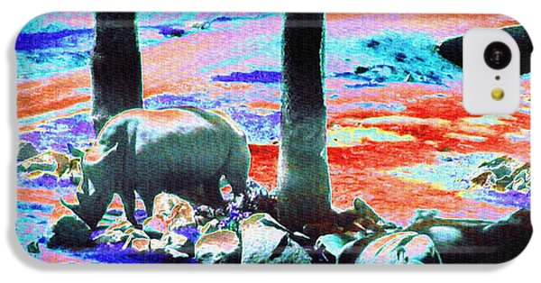 Rhinos Having A Picnic IPhone 5c Case by Abstract Angel Artist Stephen K