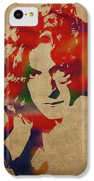 Robert Plant iPhone 5c Case - Robert Plant Led Zeppelin Watercolor Portrait by Design Turnpike