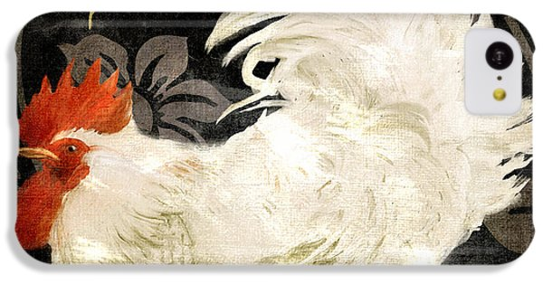 Rooster iPhone 5c Case - Rooster Damask Dark by Mindy Sommers
