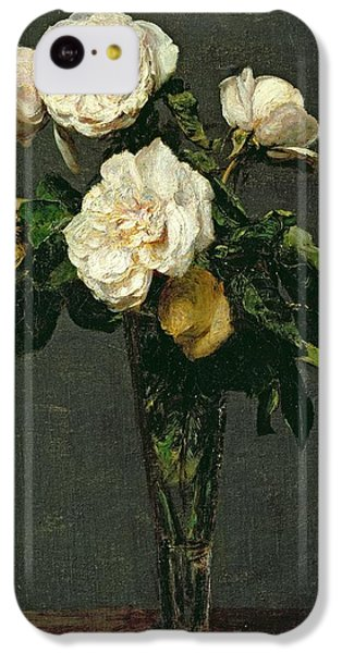 Roses In A Champagne Flute IPhone 5c Case by Ignace Henri Jean Fantin-Latour