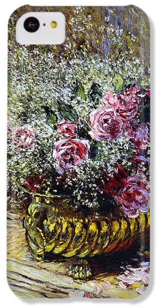 Roses In A Copper Vase IPhone 5c Case by Claude Monet