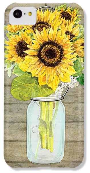Sunflower iPhone 5c Case - Rustic Country Sunflowers In Mason Jar by Audrey Jeanne Roberts