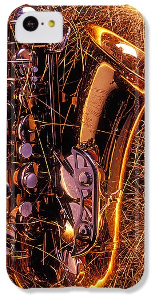 Saxophone iPhone 5c Case - Sax With Sparks by Garry Gay