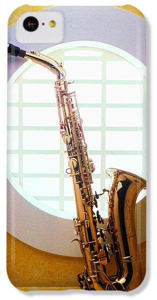 Saxophone iPhone 5c Case - Saxophone In Round Window by Garry Gay