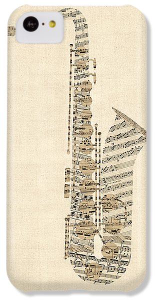 Saxophone iPhone 5c Case - Saxophone Old Sheet Music by Michael Tompsett