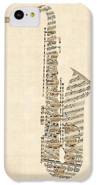 Saxophone iPhone 5c Case - Saxophone Old Sheet Music by Michael Tompsett