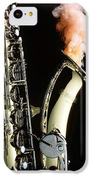 Saxophone iPhone 5c Case - Saxophone With Smoke by Garry Gay