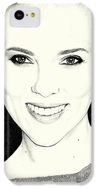 Scarlett Johansson iPhone 5c Case - Scarlett Johansson Pencil Portrait by Attila Hodgyai