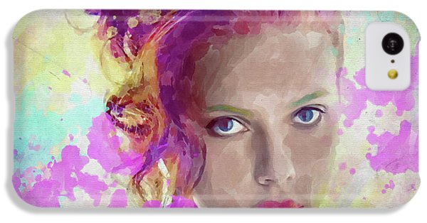 Scarlett Johansson iPhone 5c Case - Scarlett Johansson Watercolor by Ricky Barnard