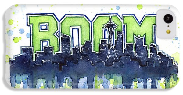 Seattle 12th Man Legion Of Boom Watercolor IPhone 5c Case by Olga Shvartsur