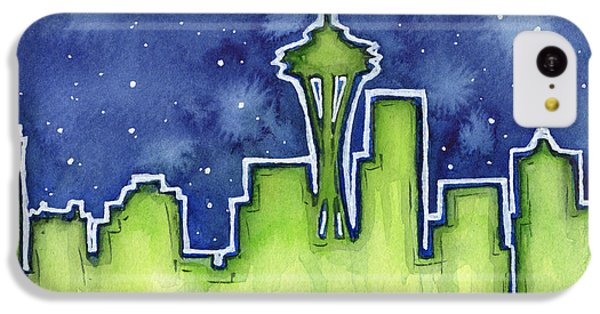 Seattle Night Sky Watercolor IPhone 5c Case by Olga Shvartsur