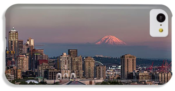 IPhone 5c Case featuring the photograph Seattle Skyline And Mt. Rainier Panoramic Hd by Adam Romanowicz