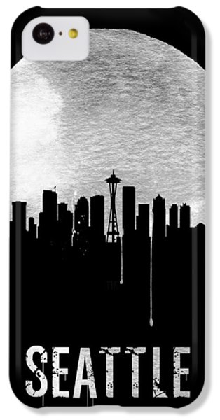 Seattle Skyline Black IPhone 5c Case by Naxart Studio