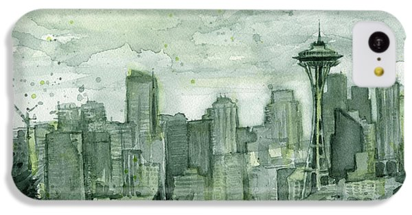 Seattle Skyline Watercolor Space Needle IPhone 5c Case by Olga Shvartsur