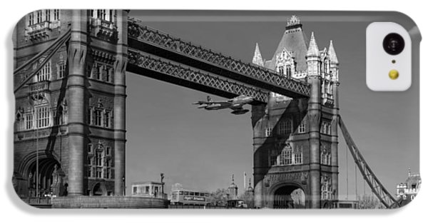 IPhone 5c Case featuring the photograph Seven Seconds - The Tower Bridge Hawker Hunter Incident Bw Versio by Gary Eason