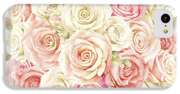 Floral iPhone 5c Case - Shabby Chic Blush Boho Roses by Pink Forest Cafe