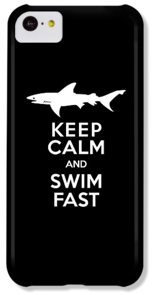 Sharks iPhone 5c Case - Shark Keep Calm And Swim Fast by Antique Images