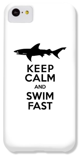 Sharks Keep Calm And Swim Fast IPhone 5c Case by Antique Images