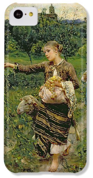 Rural Scenes iPhone 5c Case - Shepherdess Carrying A Bunch Of Grapes by Francesco Paolo Michetti