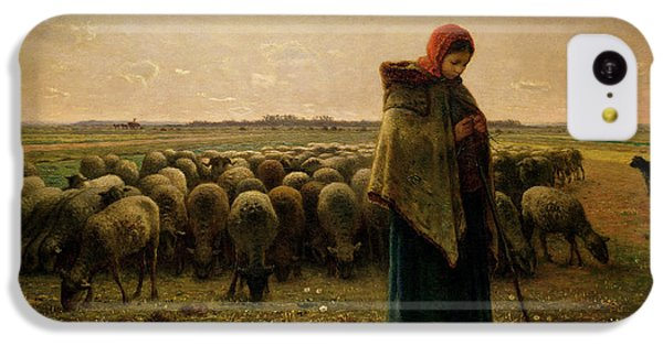 Rural Scenes iPhone 5c Case - Shepherdess With Her Flock by Jean Francois Millet