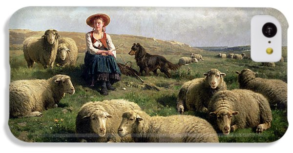 Rural Scenes iPhone 5c Case - Shepherdess With Sheep In A Landscape by C Leemputten and T Gerard