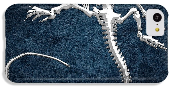 Silver Iguana Skeleton On Blue Silver Iguana Skeleton On Blue  IPhone 5c Case by Serge Averbukh