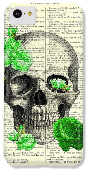 Floral iPhone 5c Case - Skull And Green Roses Illustration by Madame Memento