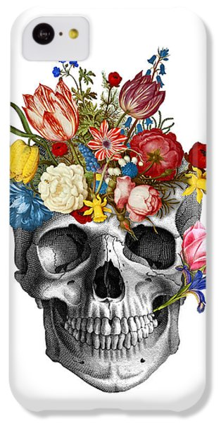Floral iPhone 5c Case - Skull With Flowers by Madame Memento