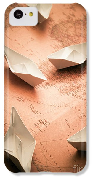 Navigation iPhone 5c Case - Small Paper Boats On Top Of Old Map by Jorgo Photography - Wall Art Gallery