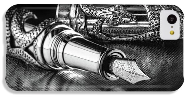 Snake Pen In Black And White IPhone 5c Case by Tom Mc Nemar