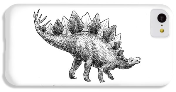 Spike The Stegosaurus - Black And White Dinosaur Drawing IPhone 5c Case