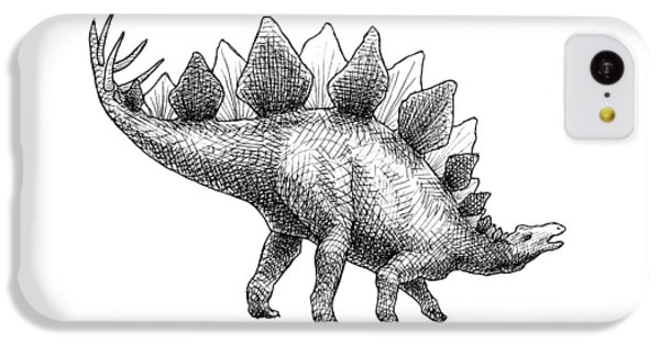 Spike The Stegosaurus - Black And White Dinosaur Drawing IPhone 5c Case by Karen Whitworth