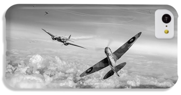 IPhone 5c Case featuring the photograph Spitfire Attacking Heinkel Bomber Black And White Version by Gary Eason
