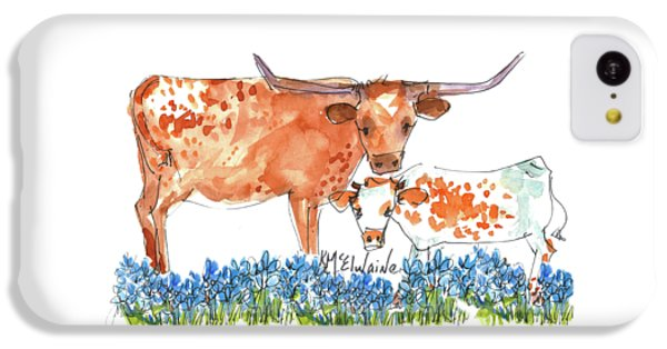 Cow iPhone 5c Case - Springs Surprise Watercolor Painting By Kmcelwaine by Kathleen McElwaine