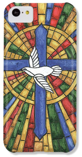 Dove iPhone 5c Case - Stained Glass Cross by Debbie DeWitt