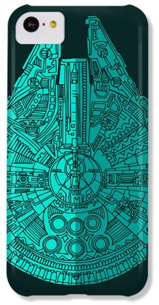 Falcon iPhone 5c Case - Star Wars Art - Millennium Falcon - Blue 02 by Studio Grafiikka