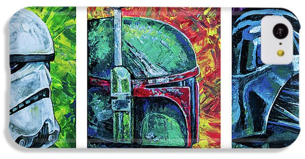 IPhone 5c Case featuring the painting Star Wars Helmet Series - Triptych by Aaron Spong