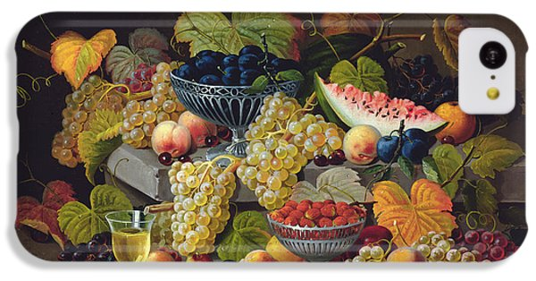 Still Life Of Melon Plums Grapes Cherries Strawberries On Stone Ledge IPhone 5c Case