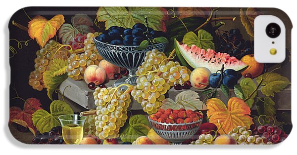Still Life Of Melon Plums Grapes Cherries Strawberries On Stone Ledge IPhone 5c Case by Severin Roesen