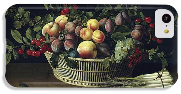 Still Life With A Basket Of Fruit And A Bunch Of Asparagus IPhone 5c Case by Louise Moillon